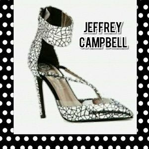 Jeffrey Campbell Davan Silver Cracked Clear Pumps
